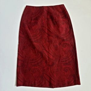 Talbots Red and Black Paisley Pencil Skirt SZ 2